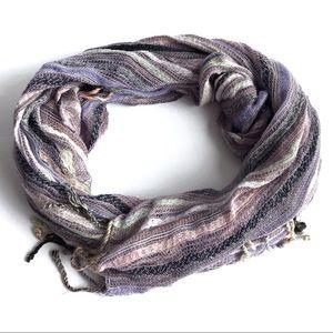 Purple Pastel Striped Lightweight Spring Scarf